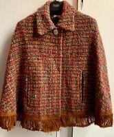 Vintage Tweed *CHRIS REEKIE & SONS* Wool Fringed Poncho Wrap Cape
