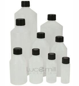 Natural HDPE Plastic Bottles & BLACK SCREW Caps 30ml to 1Litre 24 HOUR DISPATCH