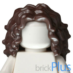 Lego Dark Brown Minifig, Hair Female Long Tousled with Center Part 6136738 20595