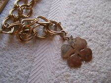 """Irish Gold Four Leaf Clover Pendant Necklace 34"""" Jewelry St. Patrick's Day"""
