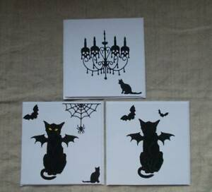 Handmade Quality Gothic Cat Blank Cards. Unique Bats Web Horror Skull Chandelier