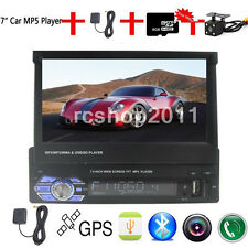 "7"" Single 1 DIN Car Mp5 Player Radio Stereo Head Unit GPS Sat Nav + Map+Camera"