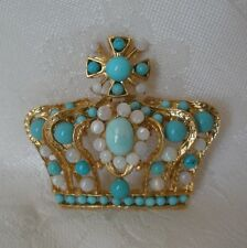 SWOBODA CROWN PIN BROOCH ~ OPAL, TURQUOISE ~ FIT FOR ROYALTY