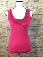 Tommy Hilfiger Ribbed Tank Top with Floral Neckline Trim PINK Size SMALL A414