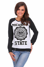Womens Pullover Michigan Print Blouse Jumper Casual Top Sweater Size 8-14 FZ25