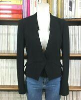 CUE AUSTRALIA blazer jacket office pinstripe peplum UK 10 US 6