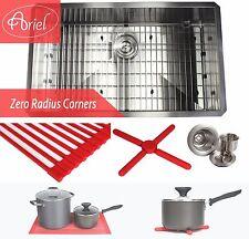 """Ariel 32"""" Undermount Stainless Steel Zero Radius Single Bowl Kitchen sink Combo"""