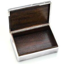 "Vintage 950 Sterling Silver & Wood Cigarette Trinket Box 187.6 Grams 4.75x3.25"""