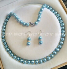 Natural 8mm Light Blue South Sea Shell Pearl Round beads Necklace Earrings set