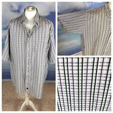 "FX FUSION Men's Shirt Size 4X Blue Purple Small Check Stripes Work 66"" Chest"
