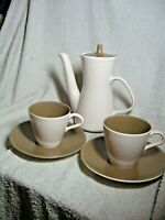 Poole Pottery Mushroom & Sepia PART  Set Twintone 2 CUPS SAUCERS & COFFEE POT.