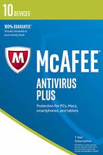 Mcafee Antivirus Plus 2017 10 Devices 1 Year Subscription Product Serial Code
