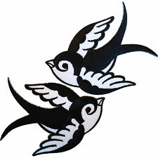 Pair Black White Iron Sew On Embroidered Swallow Patch Clothes Badge Bird Biker