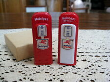 Vintage Mobil Gas Advertising Red/White Pump Salt & Peppers Shakers New in Box