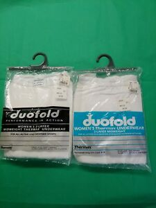 2 X Duofold Women's 2 Layer Underwear  L New Sealed White VTG Cold Weather