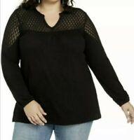 New Style & Co Black Crochet Trim Lace Blouse Top Plus Sz 3X NWT