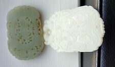 Two Chinese white and Celadon Jade Carved Pendant Plaque nephrite Hetian marked