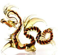 "Gold Red Dragon Figurine Blown Glass ""Murano"" Art Animal Fantasy Miniature"