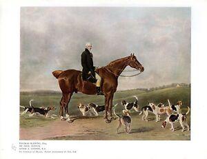 1927 PRINT ~ THOMAS WARING ESQ ON HORSEBACK WITH HOUNDS FOX HUNTING ~ T.LUPTON
