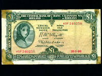 Ireland:P-57d,1 Pound,1960 * Lady Hazel Lavery *