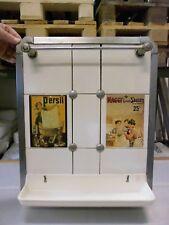 Antiker Fliesenspiegel weiß Nickelmontur Art Deco mit Marke VILLEROY & BOCH Selt
