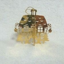 1982 Gingerbread House Danbury Mint Gold Christmas Ornament