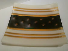 """Fused Art Glass Plate - signed """"Ed Zeuch""""  BEAUTIFUL!!"""