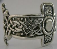 RARE SCOTTISH PROVINCIAL ? SOLID SILVER CELTIC NAPKIN RING 1930s ARTS & CRAFTS