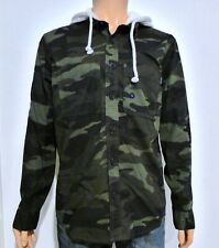 Hollister Men's Hooded Twill Relaxed Fit Shirt Large L Green Camo RRP £39.00