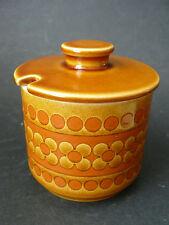 Vintage HORNSEA POTTERY Lidded Sugar Bowl Honey/Jam Pot Retro SAFFRON Pattern