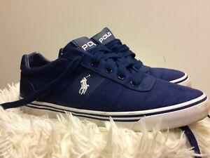 Polo Ralph Lauren Navy Blue Hanford Canvas Summer Trainers Size UK 7 00001629J12