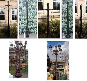 CK Range : Victorian Cast Iron & Aluminium Lamp Posts Large Ornamental 5 Lantern