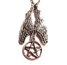 FALLEN ANGEL PENDANT wing pentagram Lucifer Supernatural wiccan necklace goth 4H
