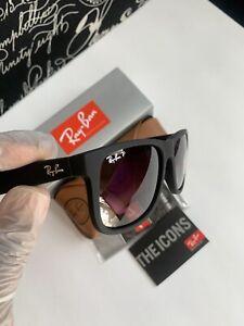 New Ray-Ban Justin Wayfarer POLARIZED RB4165 Black/Grey Gradient