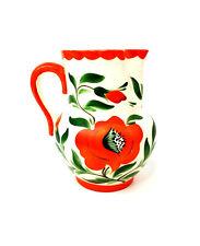 Vintage Erphila Art Pottery Czecho Slovakia Orange Poppies Flower Pitcher bt