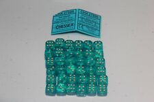 Chessex Teal with Gold 36 Borealis 12mm Pipped Dice CHX 27886