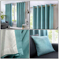 Duck Egg Blue Eyelet Curtains 100% Cotton Plain Lined Ring Top Curtains Pair