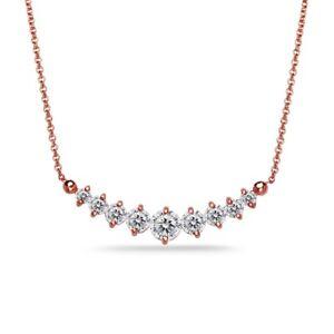 Rose Gold Flash 925 Silver Graduated Journey Necklace Made w/ Swarovski Zirconia