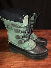 New Vintage Sorel Green Suede Lined Duck Boots Size 7 US 5UK 6US