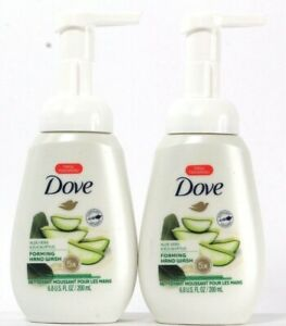 2 Bottles Dove 6.8 Oz Aloe Vera & Eucalyptus 5X Moisture Foaming Hand Wash