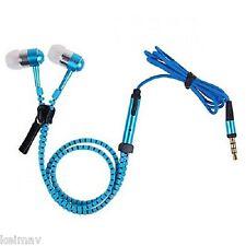 Tangle-free Zipper-type 3.5mm Earphone with Mic (Blue)