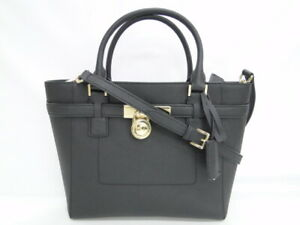 MNT Auth Michael Kors Hand Shoulder Tote Bag 2Way Black Leather 13160615200 K