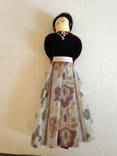Vintage Navajo Hand Made Cloth Doll Velvet Top Bead Jewelry