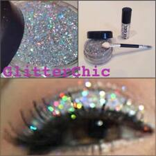 Glitter Eye Shadow Chunky Holographic Silver + Fix Gel, Instruction Glitter Eyes