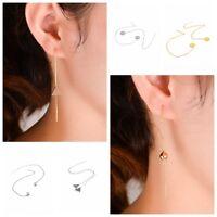 Women Fashion Gold Silver Long Chain Ear Threader Drop Dangle Earrings Jewelry