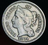 1874 Three Cent Nickel Piece 3C High Grade Details Good Date US Type Coin CC6705