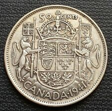 1941 Canada Silver 50 Cent Half Dollar - 80% Silver - Free Combined Shipping