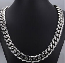 15mm 24'' Chunky Curb Chain For Men's Jewelry Pure Stainless Steel Necklace