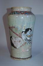 Tall vase with masks, Okame, tengu, Hannya, Japan, early 20th c.