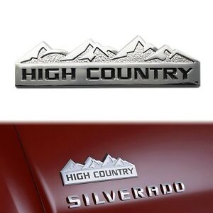 3D Silver HIGH COUNTRY Aluminum Car Emblem Sticker for Chevy Chevrolet Silverado